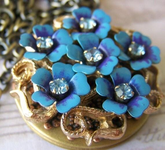 Forget Me Not-Estate-Vintage Locket-Rhinestone Brooch-Necklace