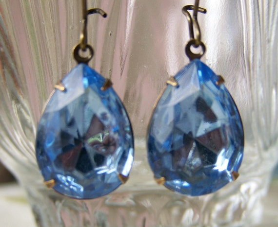 Light Sapphire Blue Antique Glass Jewel Earrings