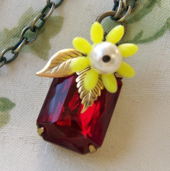 Red Jewel Necklace, whimsical vintage flower