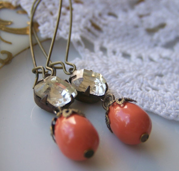 Coral Pearl Earrings, vintage glass jewel