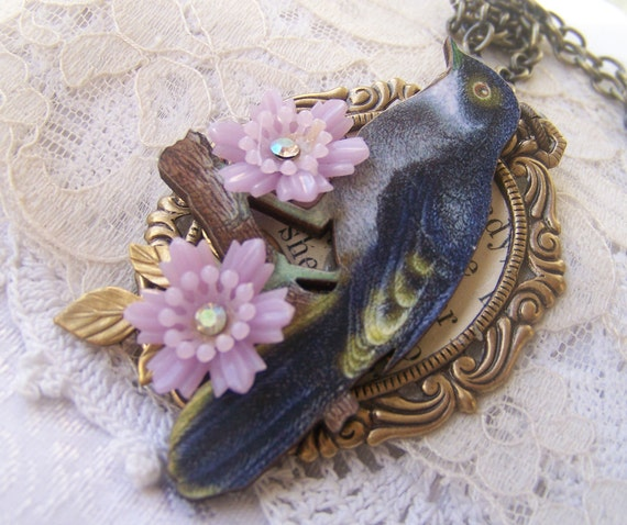 Bird Necklace, antiqued woodland jewelry, refashioned, repurposed vintage, one of a kind jewelry