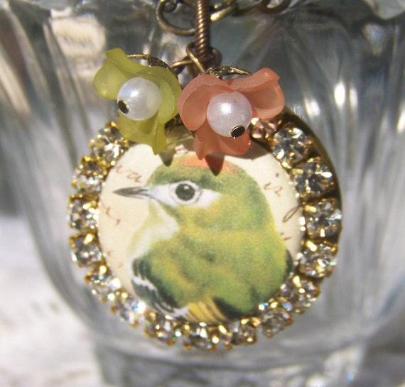 Bird Locket Necklace, swarovski crystal
