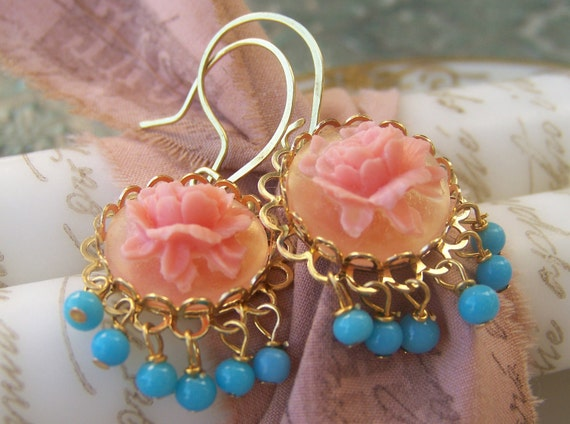 Flower Earrings, dangling turquoise blue in gold plate and brass