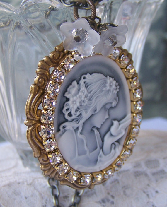 Lady Cameo Necklace, whimsical, romantic victorian style