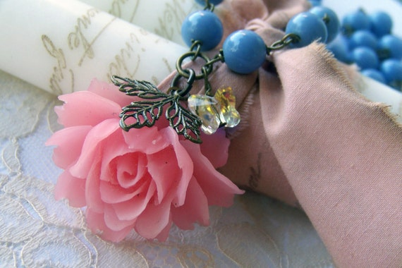 Blue Skies, Butterflies and Roses, Beaded Rose Cabochon Necklace, romance and whimsey