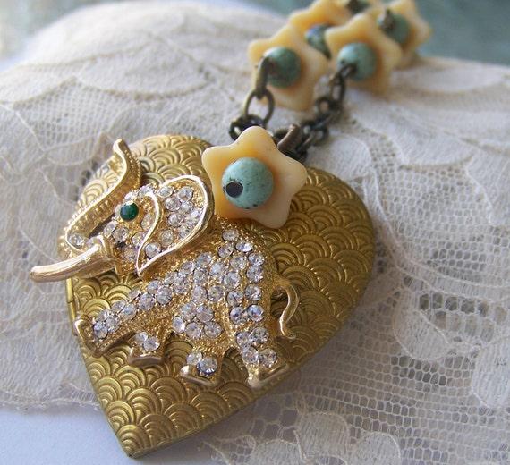 Elephant Locket Necklace, one of a kind, refashioned vintage, rhinestone Elephant