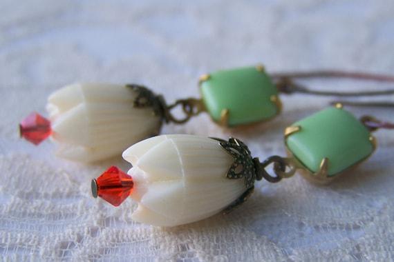 Pikake Flower Earrings, opaque vintage jewel