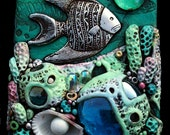 ACEO Coral Reef Polymer Clay and Glass Original
