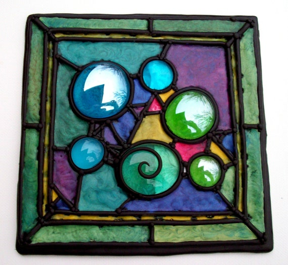 Faux Stained Glass Tile Polymer Clay and Gems