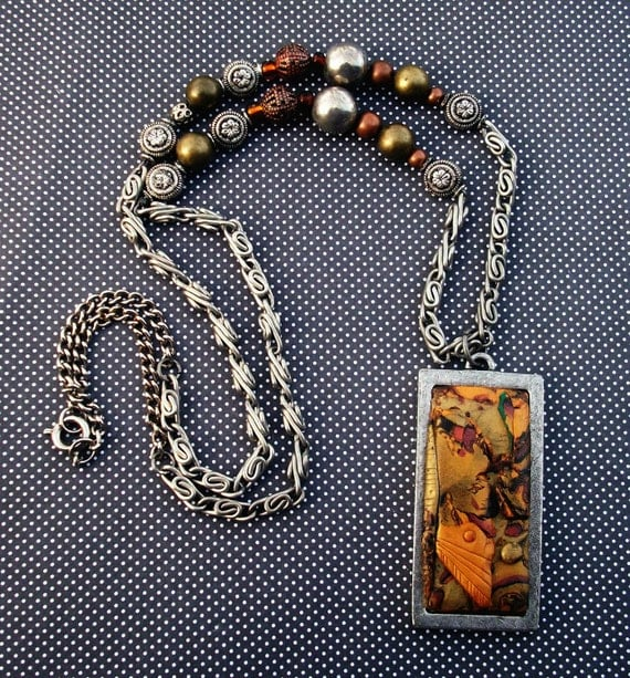 Super SALE! Handmade Necklace Autumn Leaves Polymer clay with Glass Beads