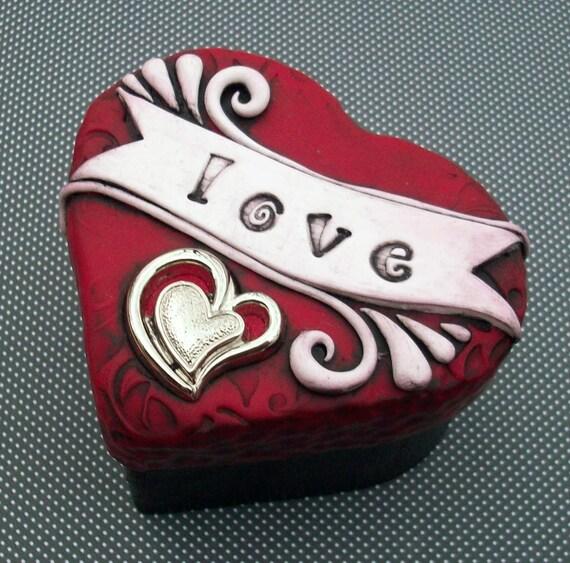 Trinket Keepsake Box Polymer Clay Valentine Love Ring Box