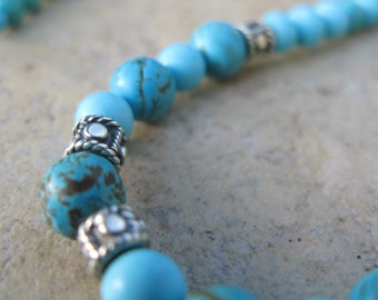 Simply Turquoise -- Turquoise, Howlite and Silver Necklace