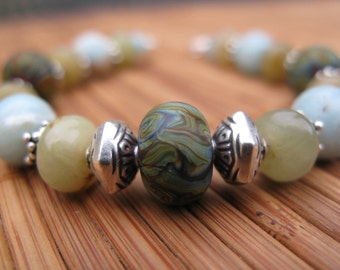 Colors of the Amazon -- Lampwork, Amazonite, Jade and Bali Silver Bracelet