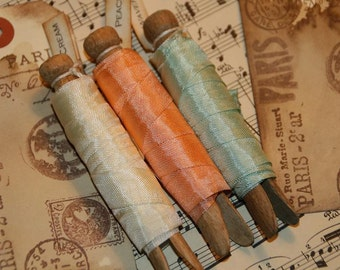 Seam Binding Ribbon 15 yards - Peach, Wavecrest Green, and Cream - Vintage Clothespins Wrapped