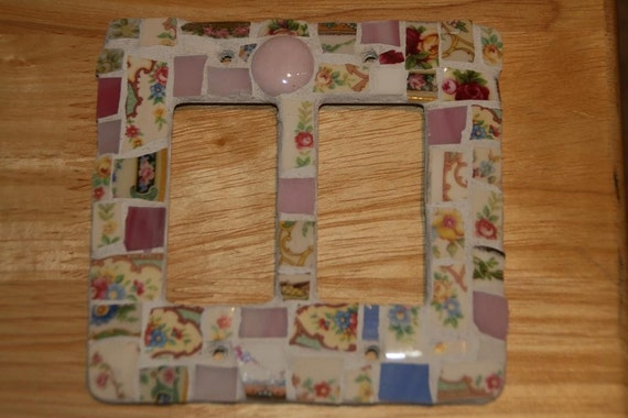 Pink Shabby Mosaic Double Light Switch Plate Cover