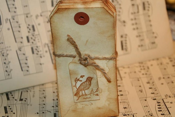 Wedding Escort Cards  DIY  Wedding Place Cards  Primitive Rustic  Antiqued Blank Tags 25 Pack