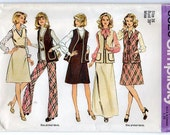 1970s Separates - Maxi Dress, A-line Dress, Unlined Vest, Pants, Size 16 - Simplicity 6525