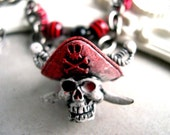 YO HO pirate skull choker