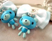Blue Bear and Bow earrings Kawaii lolita