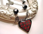 Punk at Heart a Plaid heart necklace