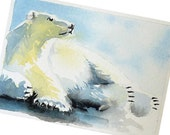 Polar Bear Art Men Women Kids Boys Girls Teens Watercolor White Polar Bear Snow Sunny Day Sunshine Under 10