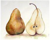 Yellow Pear Fine Art PRINT / Pear Artwork Watercolor painting / Kitchen decor botanical art / Pear painting wall decor fruit theme yellow