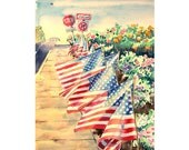 Patriotic Art Watercolor Painting Print American Flag Patriotic 911  Red White and Blue Autumn Fall  7.6 x 9.6 Under 25