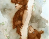 Bear Cubs Art Print / Watercolor Print / Watercolor Painting / Nursery animal art / Boys room / Girls room / Art for children / 8 x 10 N