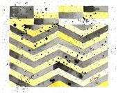 Abstract Geometric Art Original Watercolor: Summer Fall CJI Men Women Children Yellow & Black Office Den Living Room Modern 8 x 9.5 Under 50