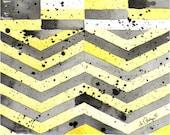 Art Watercolor Painting Abstract Geometric Print: Apartment Dorm Women Kids Summer Yellow Black 7.6 x 9.6 Under 25