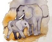 Elephant Painting / Watercolor PRINT jungle zoo animal art / Baby elephant art print / Nursery painting of elephant / Boy nursery wall decor