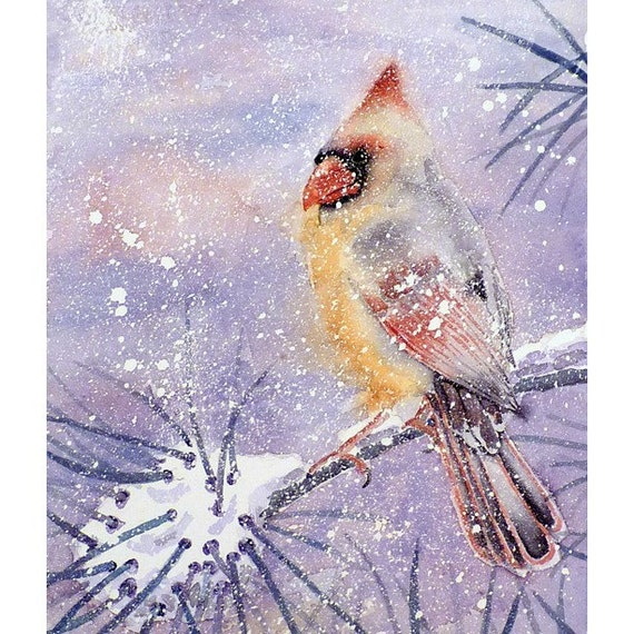Original Watercolor Cardinal Female Bird Winter Snow Landscape Blizzerd Holiday Season Gift Bird Lover Snow Storm Winter Colors Childs Room