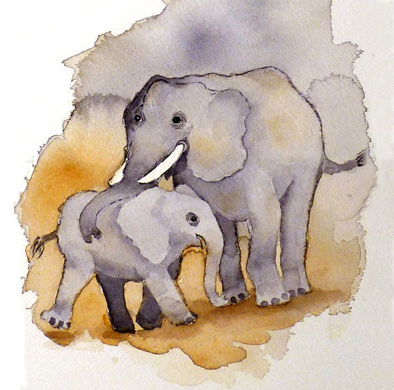Nursery Art PRINT / Watercolor Painting baby elephant family,  Art collectibles for children, Circus zoo animal artwork Child's room decor