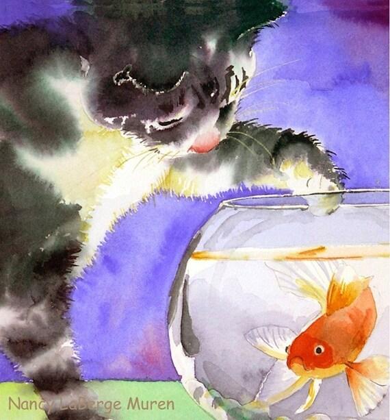 33. Watercolor Print, fish, bowl, cat, gold, kitten, LaBerge,  ARCHIVAL