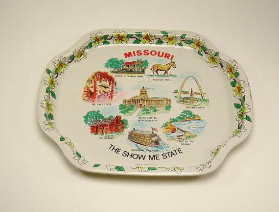 Metal Decorative Missouri Tray The Show Me State Depicting Missouri Landmarks
