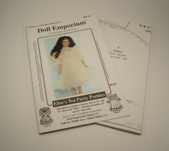"Sewing Pattern For Two Dresses To Fit 19"" And 24"" Dolls By Doll Emporium Pattern Company"