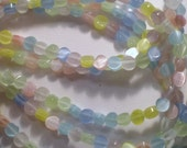 4mm Pretty Pastel Multicolor Cat's Eye Glass Beads 8 Inch Strand