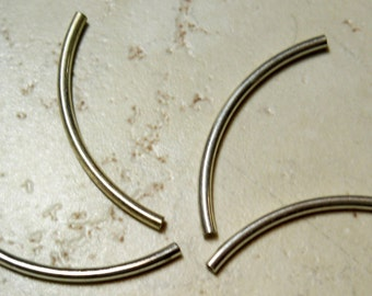 10 Silver Plate Curved Tubes  2mm x 38mm
