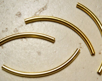 10 Gold Plate Curved Tubes   2mm x 38mm