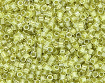 Miyuki Size 11/0 Delica Beads, Sparkling Yellow Green Crystal, DB910, 7.2 grams