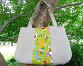 SALE SALE Natural Linen Bag with Alexander Henry Fabric