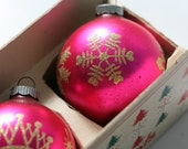 Shiny Brite Hot Pink Gold Glittered Vintage Christmas Bulbs In Original Box