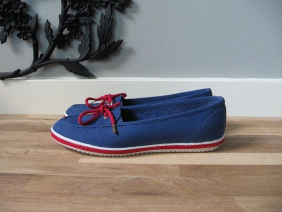 nautical navy blue canvas deck shoes size 8 5