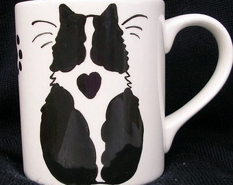 Cat Mug Black And White Cat With Heart Handmade by GMS