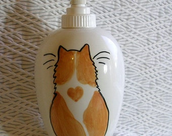 Orange and White Soap Dispenser or Lotion Bottle Ceramic by Grace M. Smith