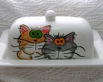 Goofy Cats On Butter Dish Ceramic Handpainted Original Design by Grace M Smith