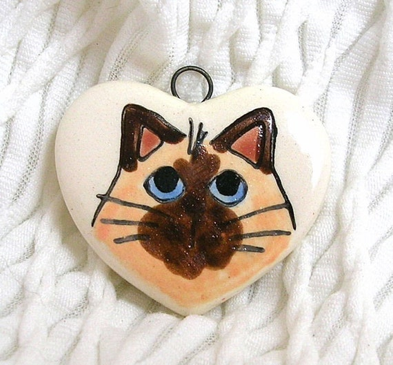 Heart Shaped Siamese Cat On Charm or Pendant Earthenware Clay