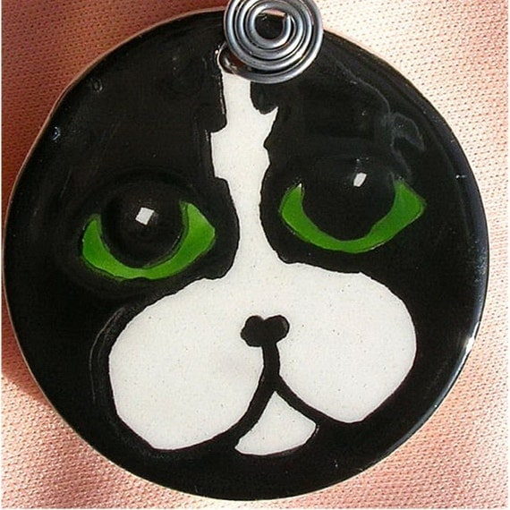 Black And White Cat Face Clay Pendant