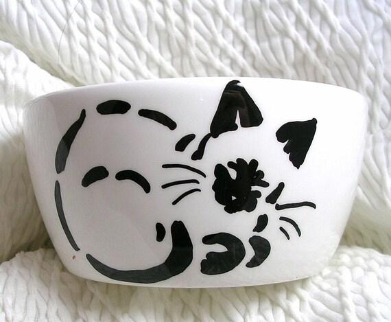 Mini Ceramic Cat Bowl With Siamese Stencil Cat Design Meow Paws Inside