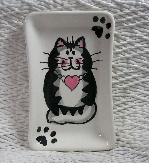 Grey Tabby Cat With Heart On Rectangular Ceramic Cat Dish Spoonrest Soap Dish